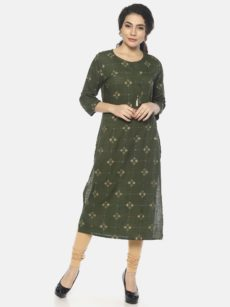 Mytri Women's Darkgreen Viscose Printed Straight Kurta-yespoho