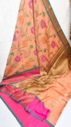 Light Orange Handloom Khaddi Moga Silk Sarees-yespoho