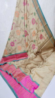 Light Cream Handloom Khaddi Moga Silk Sarees-yespoho