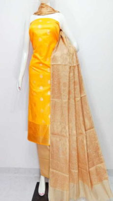 Fire Yellow,  Off white  Banarasi Cotton Dress material-yespoho