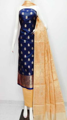 Dark Royal Blue, Off white Cotton Banarasi Cotton Dress material-yespoho