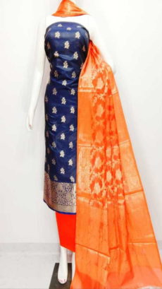 Dark Royal Blue, Light Orange Banarasi Cotton Dress material-yespoho