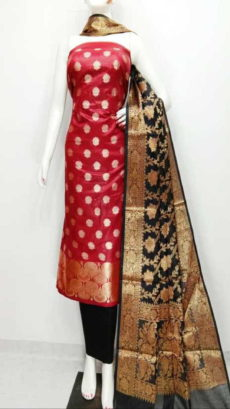 Cherry Red, Black Banarasi Cotton Dress material-yespoho
