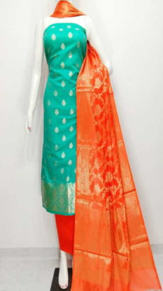 Mint Green, Orange  Banarasi Cotton Dress material-yespoho