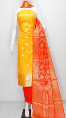 Yellow, orange  Banarasi Cotton Dress material-yespoho