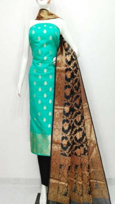 Mint Green, Black  Banarasi Cotton Dress material-yespoho