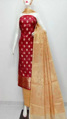 Cheery Red, Off white  Banarasi Cotton Dress material-yespoho