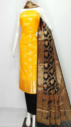 Gold yellow ,Black  Banarasi Cotton Dress material-yespoho