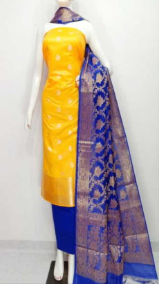 Fire yellow, Blue Banarasi Cotton Dress material-yespoho