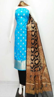 Sky Blue, Black Banarasi Cotton Dress material-yespoho