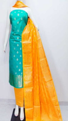 Mint Green, yellow Banarasi Cotton Dress material-yespoho