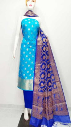 Sky Blue, Blue  Banarasi Cotton Dress material-yespoho