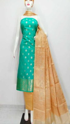 Mint Green , Off white  Banarasi Cotton Dress material-yespoho