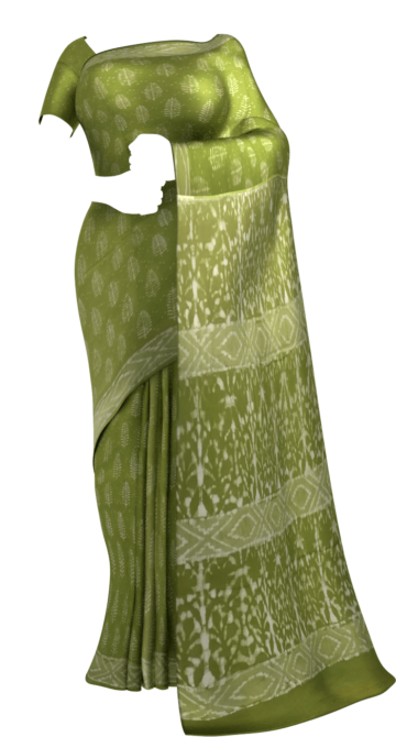 Forest Green Leaf pattern Dabu Mud Designer printed cotton saree. Cotton Sarees Saree25 Yespoho Sarees Handpicked Collections