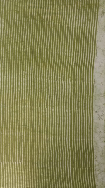 Forest Green Forest Green Stripes Dabu Mud Designer printed cotton saree.