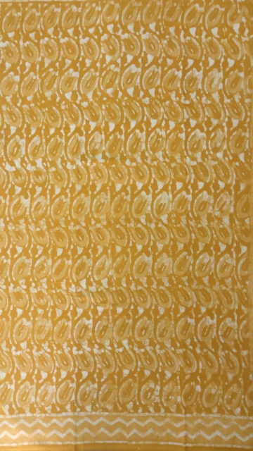 Yespoho Mustard Yellow wave pattern Dabu Mud Designer printed cotton saree.