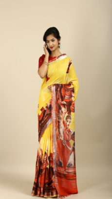 Butter Yellow  ,Hand Woven  salab cotton saree-yespoho