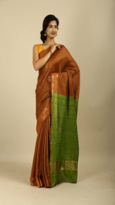 Brown Light Green Hand woven  Tussar And Ghicha saree.-yespoho