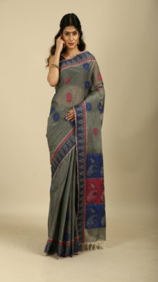 Blue, Grey ,Hand Woven cotton saree-yespoho