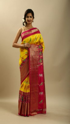 Pink And Yellow  Hand Woven Pochampally Ikat saree-yespoho