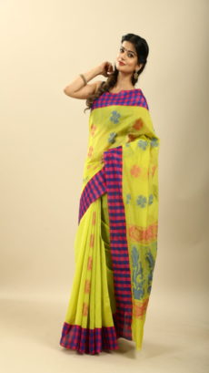 Light Green Hand Woven Silk Cotton saree-yespoho