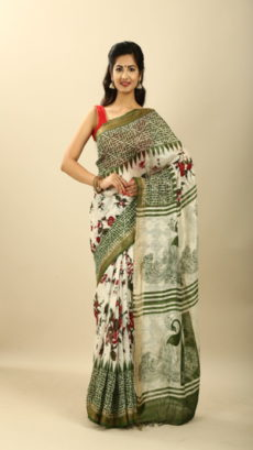 Dark Olive Green, Off White Hand Woven  Printed silk linen  saree-yespoho
