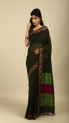 Moss Green Hand Woven Cotton saree.-yespoho