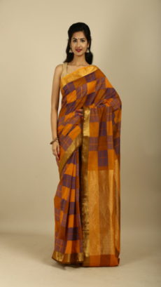 Orange , Blue Hand Woven Cotton saree.-yespoho