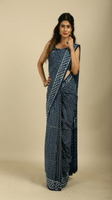 Indigo Blue Hand Woven  Soft Cotton saree.-yespoho