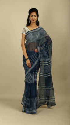 Indigo Blue Strips Kota Cotton Hand woven saree.-yespoho