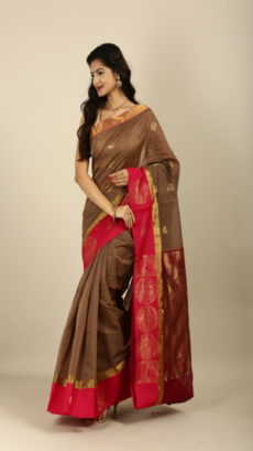 Brown ,Red Hand woven kota Silk & Cotton saree-yespoho