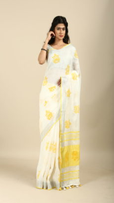 White ,Yellow linen Hand Woven  saree-yespoho