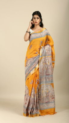 Mustached Yellow  ,Hand Woven  salab cotton saree-yespoho