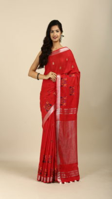 Red,Hand Woven linen  embroiderer saree.-yespoho