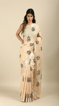 Off White,Black Hand Woven linen saree.-yespoho