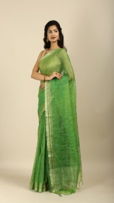 Light Green,Handwoven jute and organza  sarees-yespoho