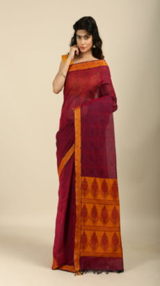 Pink, Yellow  Handwoven jute and organza  sarees-yespoho