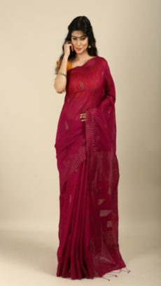 Cheery,Handwoven Jute And Organza Sarees-yespoho