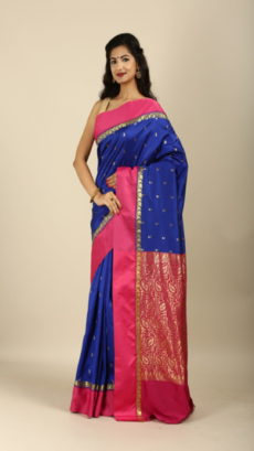 Royal Blue ,Red Handwoven garad silk saree.-yespoho