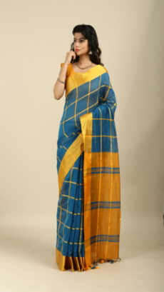 Light Blue ,Mustered  Yellow Bengal Checks Silk Cotton Sarees.-yespoho