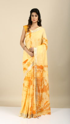 Mastard Yellow Shibori Tie & Dye Cotton Saree.-yespoho