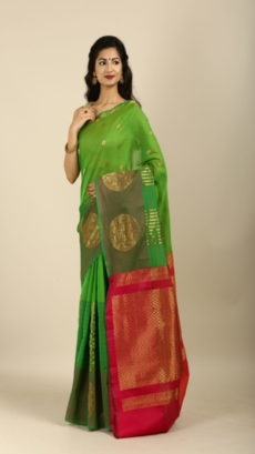 Green,Red Handwoven kora silk and cotton sarees-yespoho