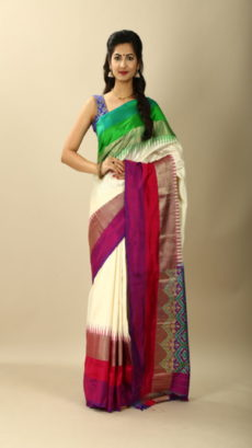 Off White And Multicolored Hand Woven Pochampally Ikat saree-yespoho