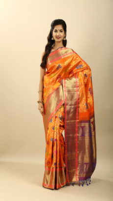 Orange Hand Woven Kanchipuram Silk Sarees.-yespoho