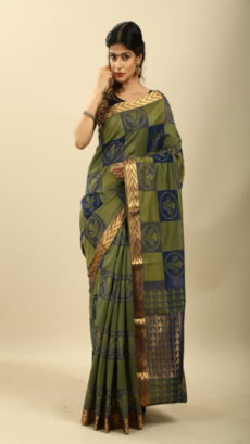 Dark Olive Green Hand Woven cotton saree-yespoho