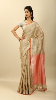 Orange,Off White Hand Woven  Tissue  linen  saree-yespoho