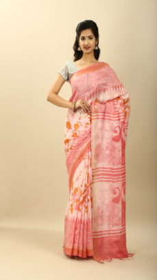 Black , Off White Hand Woven  Printed silk linen  saree-yespoho