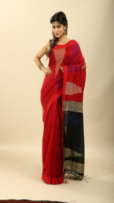 Black , Red Hand Woven  Bengal Silk  Cotton saree-yespoho