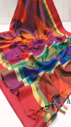 Bright Red Multi Banarashi Soft Semi Silk Ranbow Satin Boder Saree.-yespoho