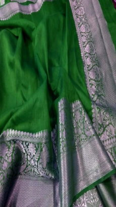 Bottle Green Handloom Banarasi Linen Silk Saree.-yespoho